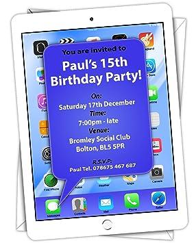 Personalised Birthday Party Invitations IPad Invites 18th 21st 30th