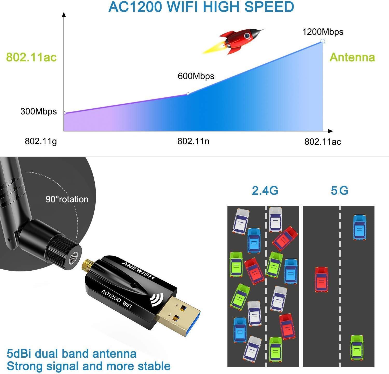 AneWish - Adaptador WiFi USB 1200 mbps CA con adaptador WiFi de antena de alta ganancia. 1200M WIFI 5DBI