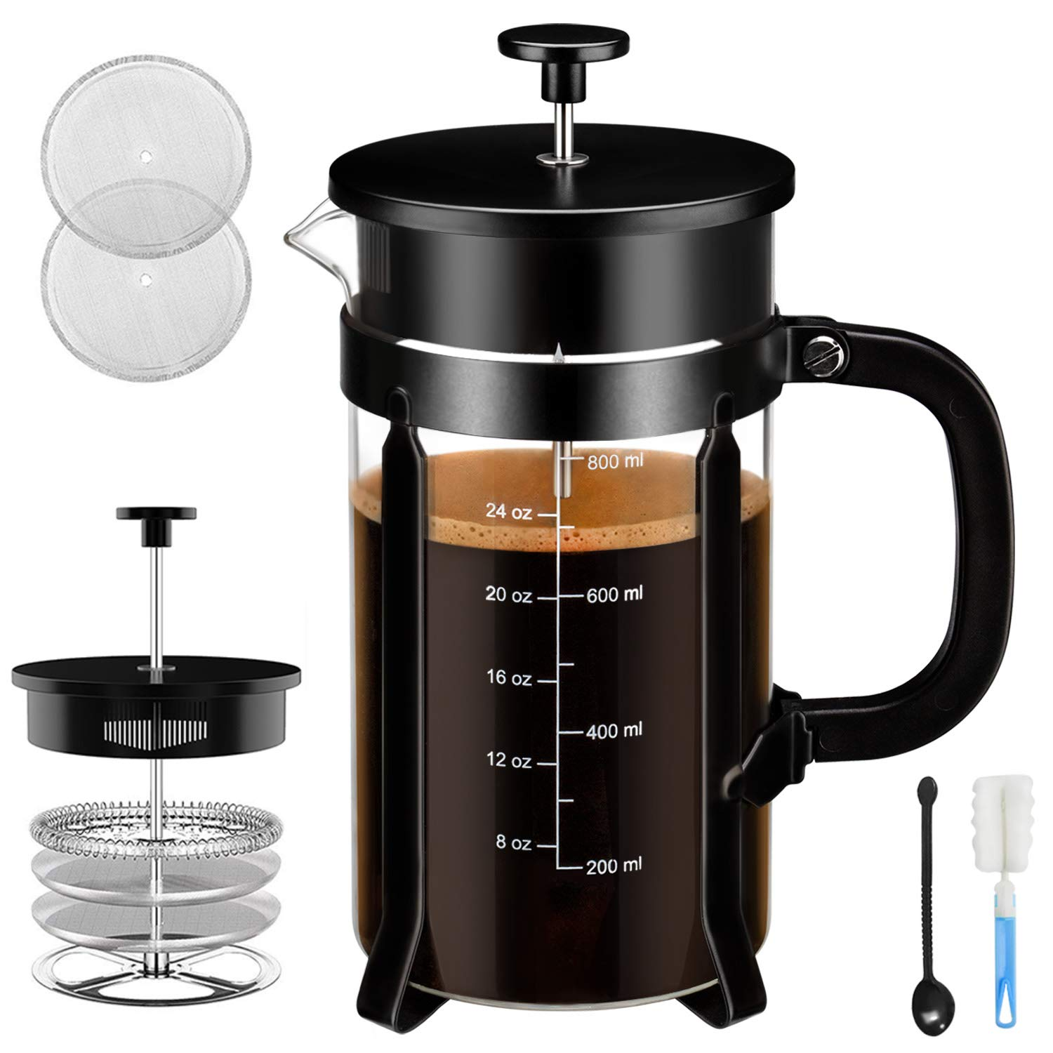 Chrider French Press Coffee Maker 34 oz 8 Cups Coffee Press with 304 Stainless Steel Stand and 4 Filter Screens, Precise Scale Easy to Clean Durable Heat Resistant Borosilicate Glass – Black