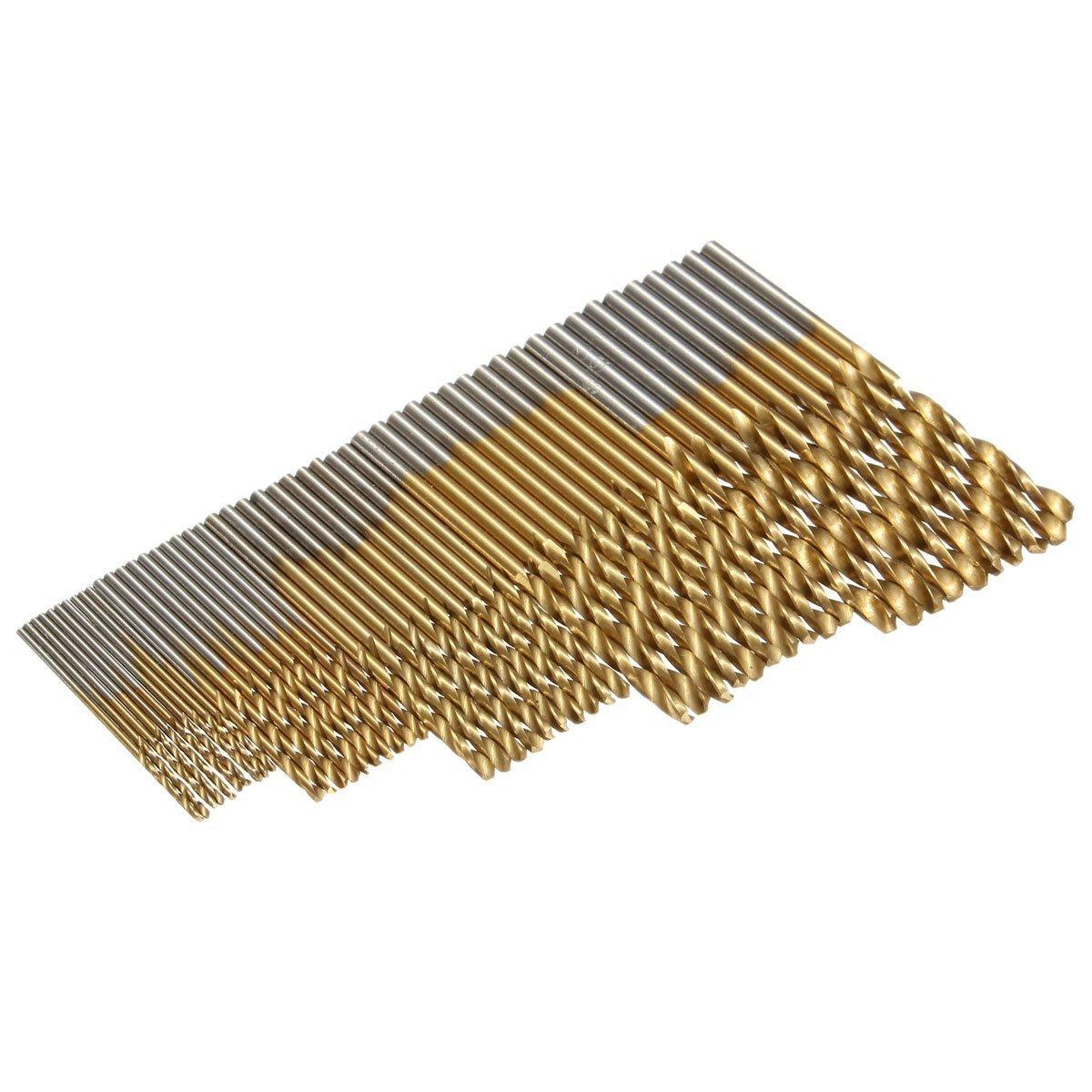 xuesiLY 50Pcs Titanium Coated HSS High Speed Steel Drill Bit Set Tool 1//1.5//2//2.5//3mm