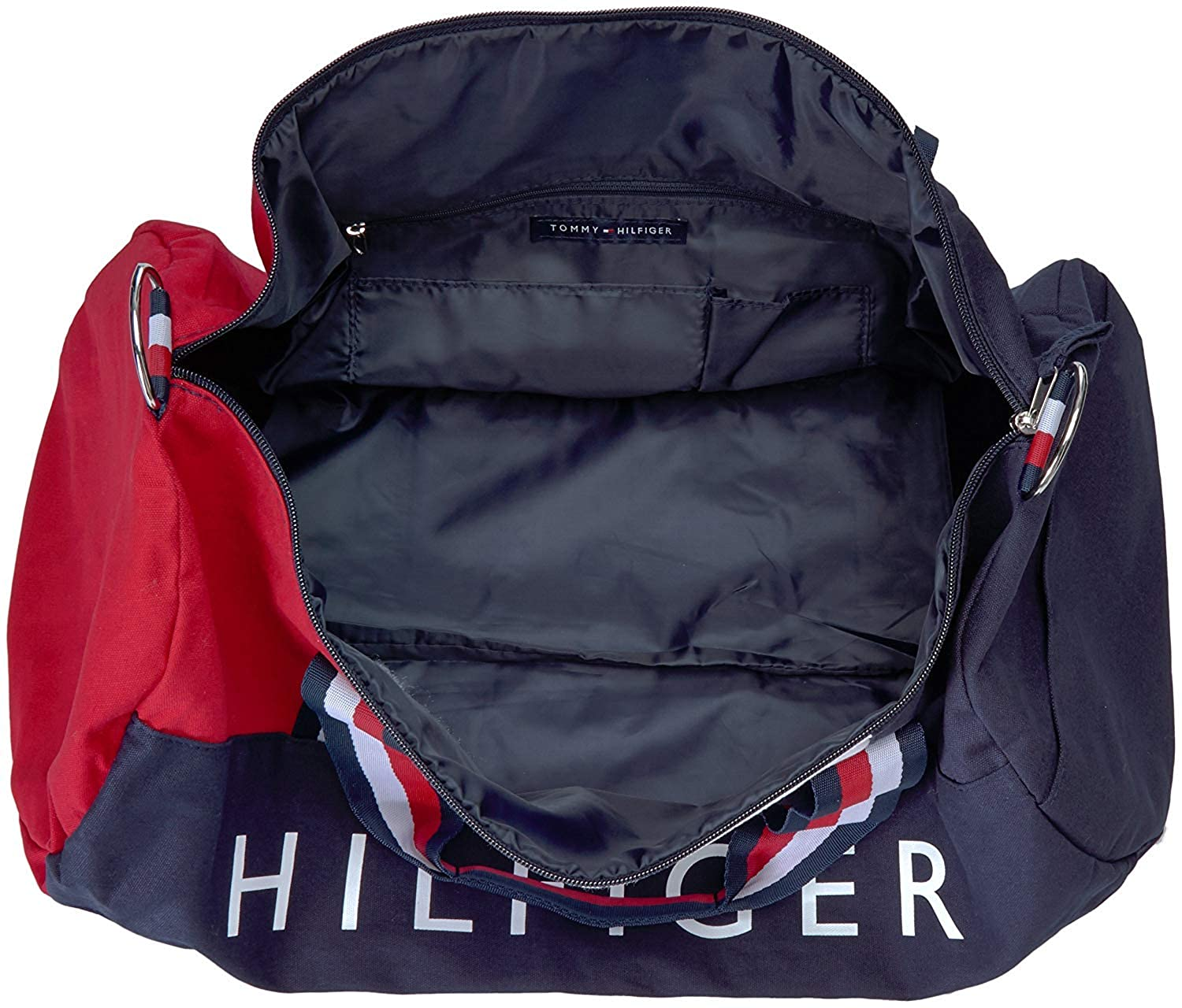 Red and White Stripe Handles Tommy Hilfiger Patriot Duffel Bag with Wide Navy