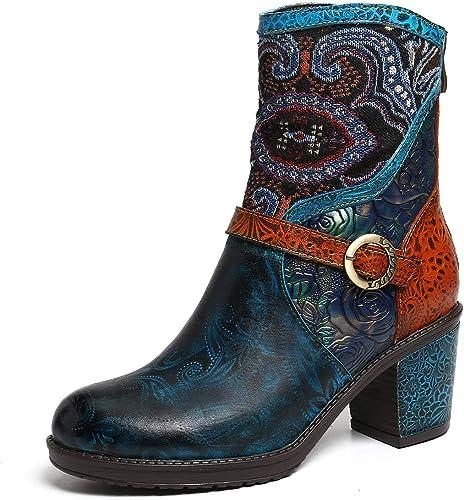 gracosy Bottines Cuir Talons Femmes, Bottes en Cuir Chaussures de Ville Hiver à Talons Hauts Confortable Boots Montantes Semelles Conforts Boucle