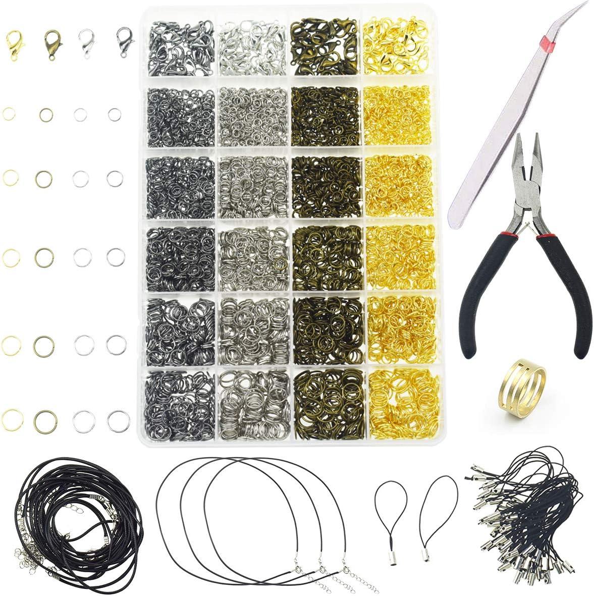 3143 Piezas Hallazgos de la joyería Juego de fabricación de joyas para la fabricación de artículos de joyería y reparación de collares