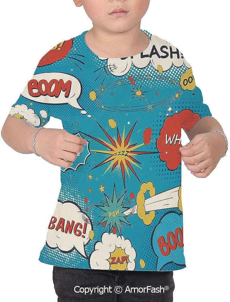 PUTIEN Superhero All Over Print T-Shirt,95/% Polyester,Childrens Short Sleeve T-ShirtPo