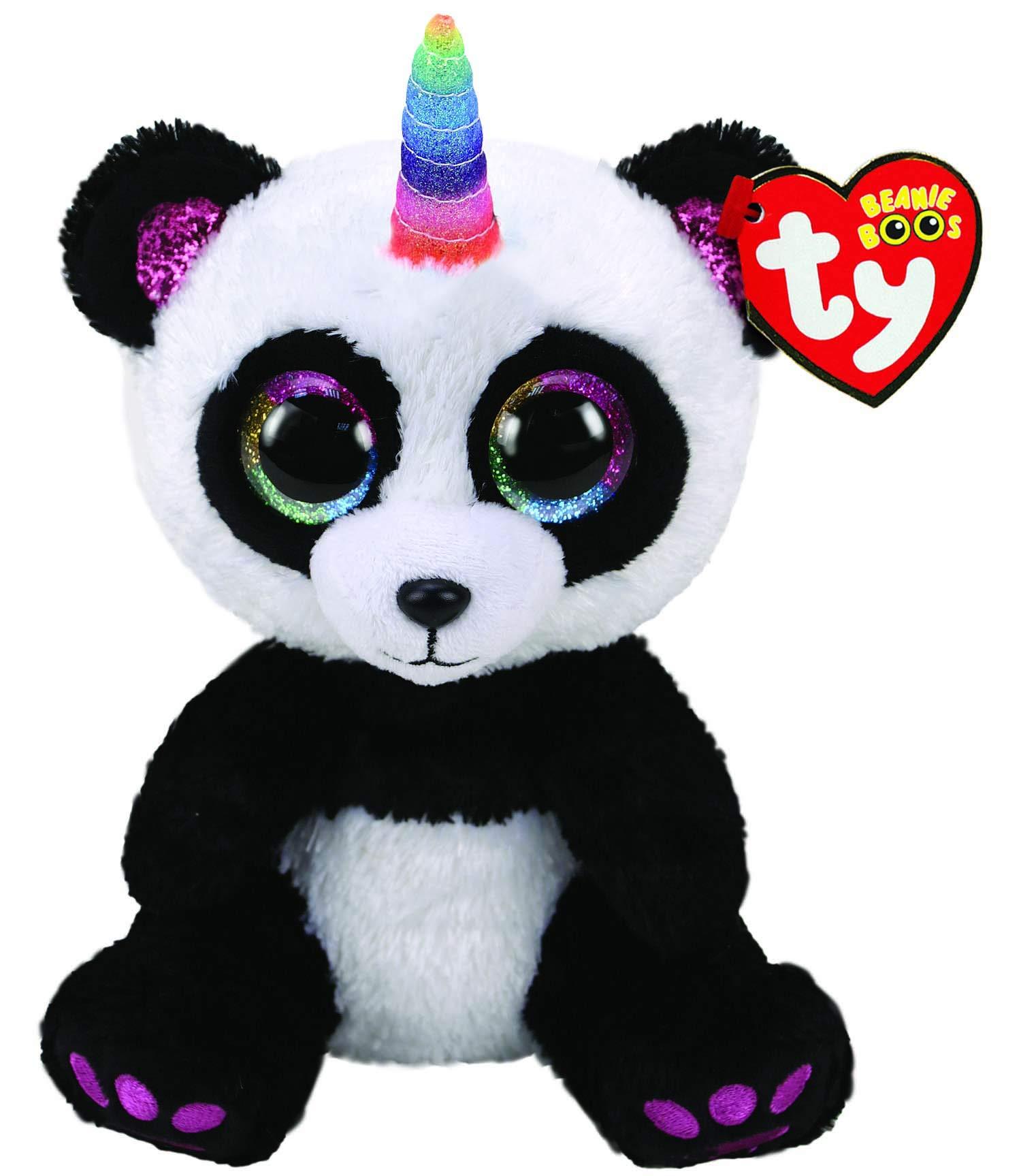 Ty UK Ltd 36307 Paris Panda W/Horn - Beanie Boos Plush Toy, Multicoloured, 15cm