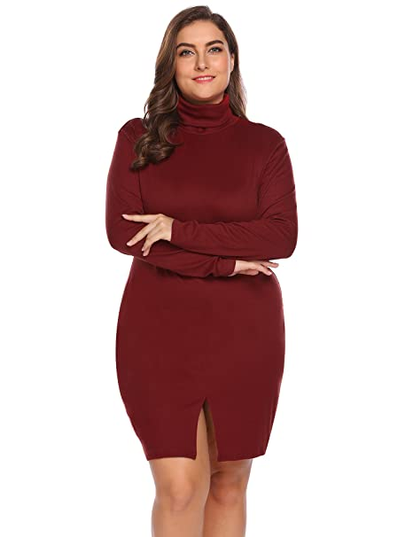 c56335f48e IN VOLAND Involand Women s Plus Size Turtleneck Long Sleeve Bodycon Pencil  Sweater Dress (20W