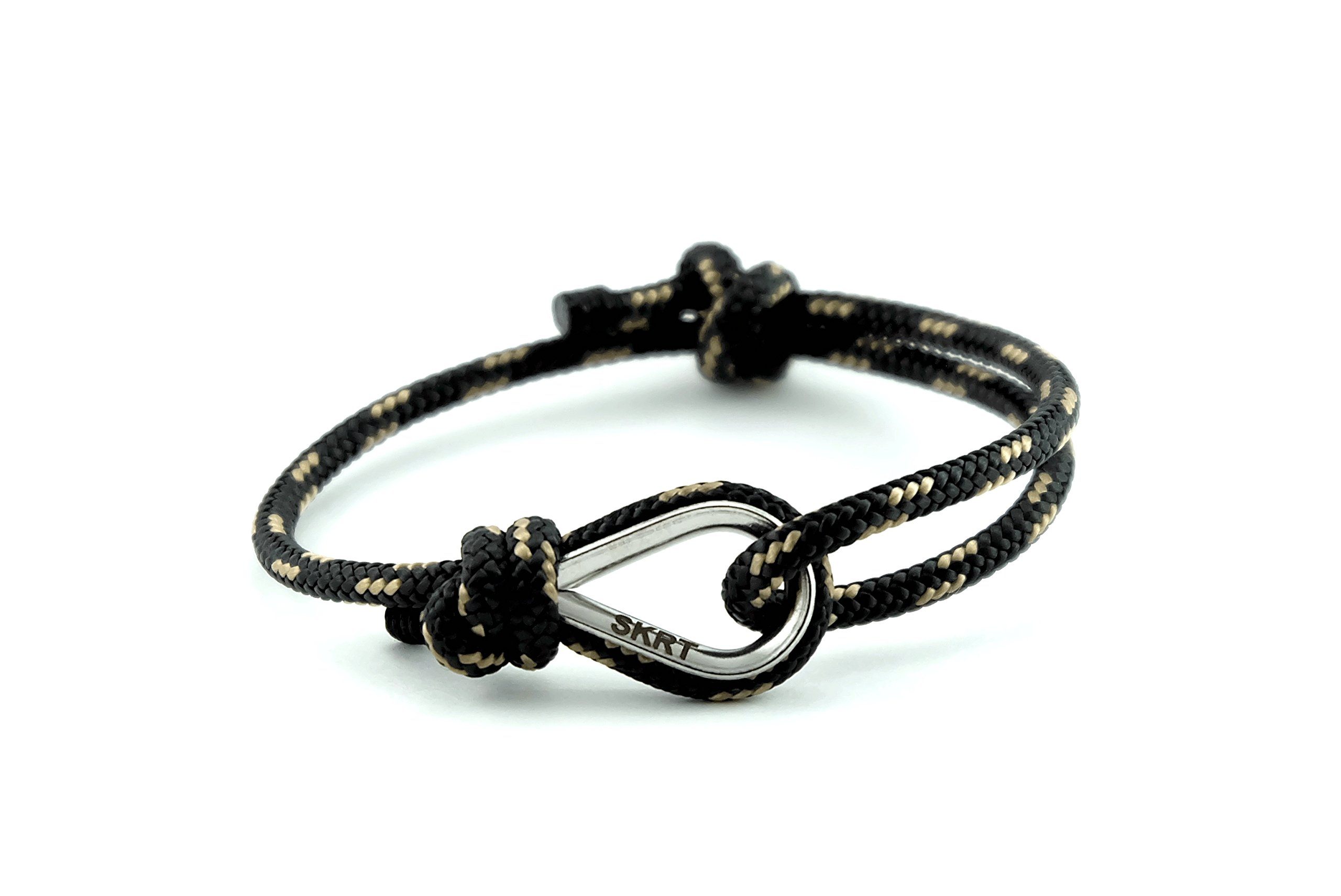 Handmade Nautical Bracelet Made in Europe, Unisex, Adjustable size (Bravo 3rd India / Black)