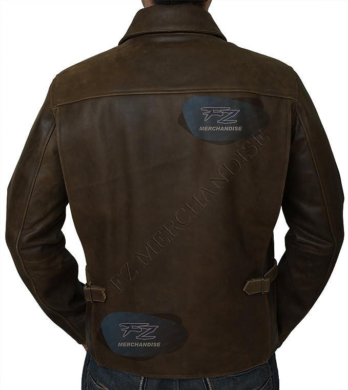 PLG Mens Indiana Jones Harrison Ford Brown Genuine Real Leather Jacket