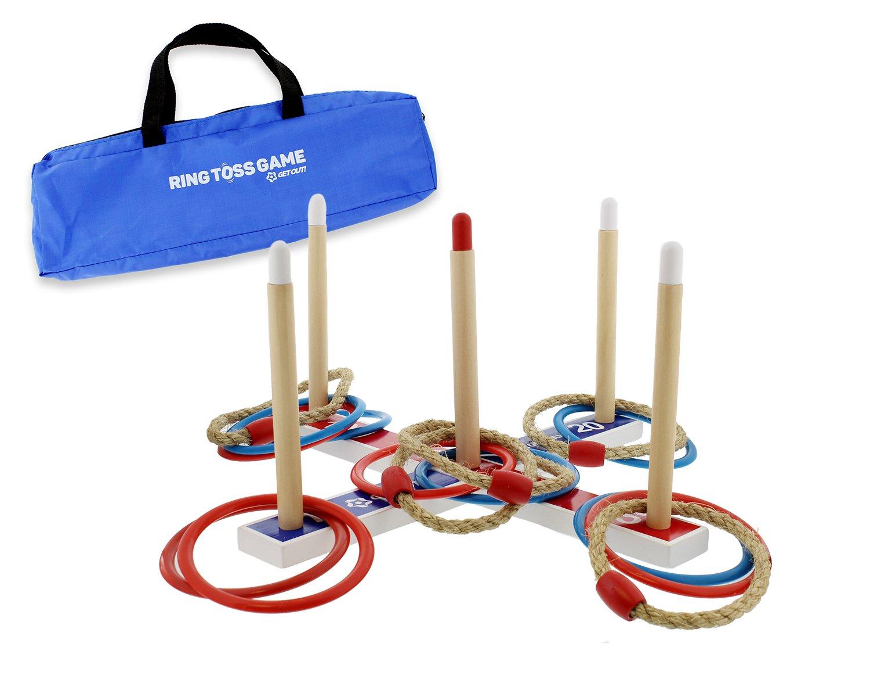 Get out.TM Ring Toss Quoits Game set con borsa da trasporto–rosso, blu, e corda Tossing anelli esterni–Anello Toss per tutte le età