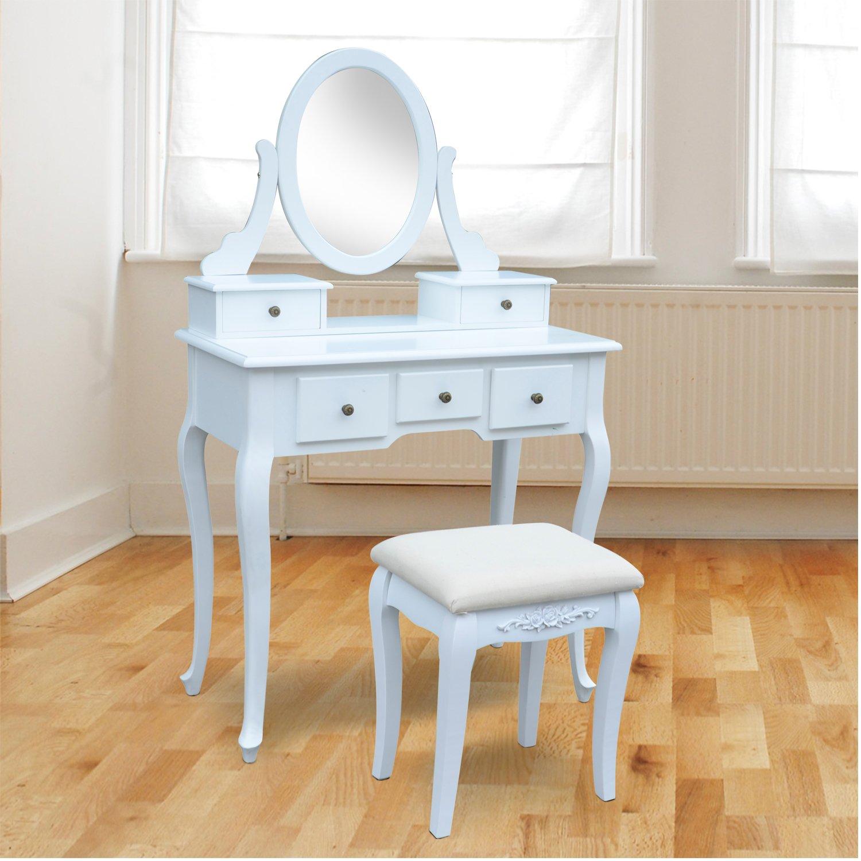 tocador con taburete y espejo mesa de maquillaje con cajones madera mdf color blanco amazones hogar