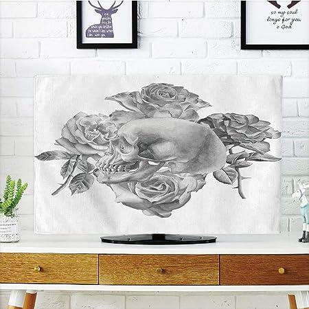 iprint LCD TV Cubierta de Polvo, Gris y Amarillo, Estilo Victoriano Flores Hojas remolinos Ombre diseño Art Imagen, Gris Claro y Dorado, diseño de impresión 3D Compatible 32 Pulgadas TV: Amazon.es: Hogar