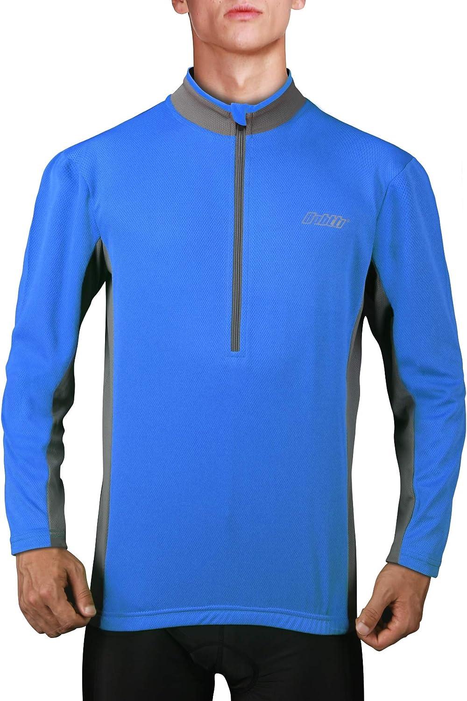 bpbtti Mens Cycling Jersey Long Sleeve MTB Bike Biking Shirts with Half Front Zipper /& 3-Rear Pockets