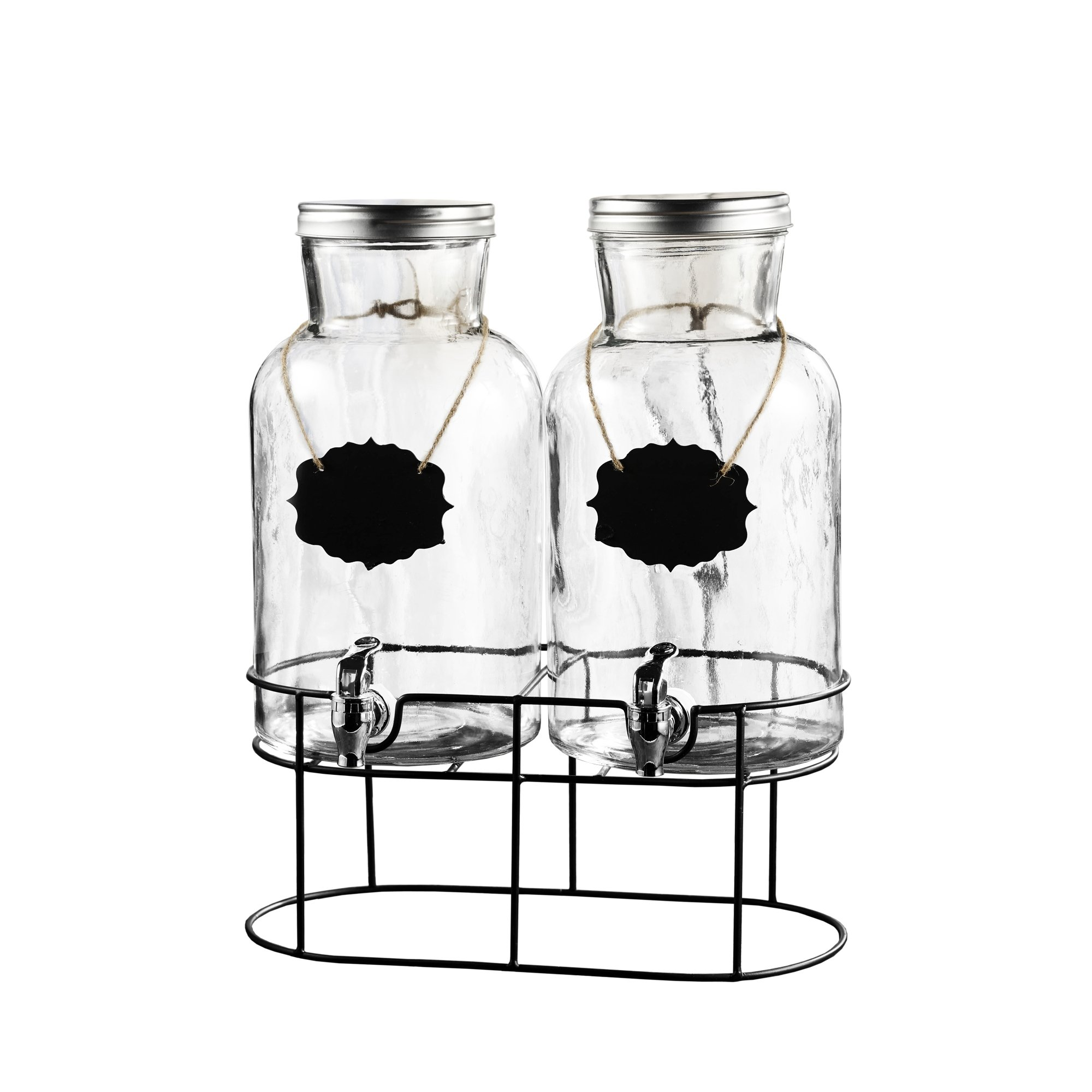 Style Setter Sierra 210439-GB 1.2 Gallon Each 2 Piece Glass Beverage Dispenser Set with Metal Stand and Lid, 15x7.5x16.5, Clear