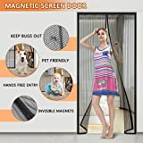 """Magnetic Screen Door with Heavy Duty Curtain and Full Frame Velcro Fits Door Size Up to 39"""" x 83"""" Max"""