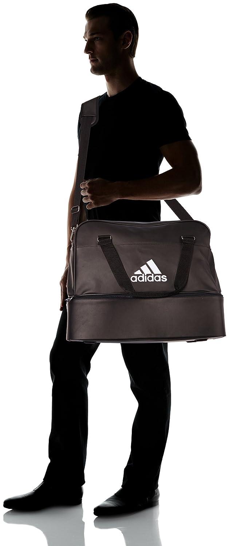 Adidas - Borsone da calcio in poliuretano con scomparto sul fondo, misura unica, colore: Nero / Bianco (42 cm x 50 cm x 45 cm)