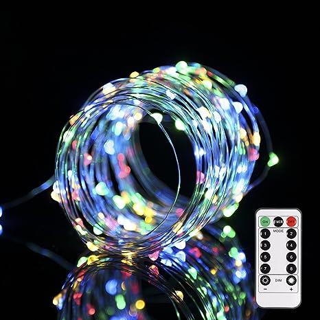 Progreen Cadena de Luces, 10m 100 Multicolor LED, Alambre de Cobre Impermeable, con