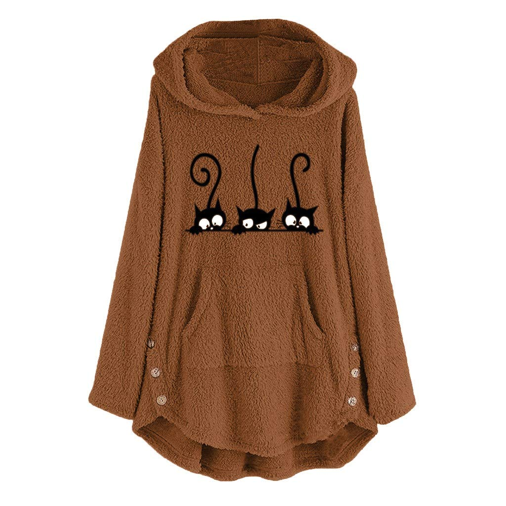 FANGTION Womens Fleece Cat Embroidery Plus Size Warm Hoodie Top Button Sweater Blouse Coffee by FANGTION