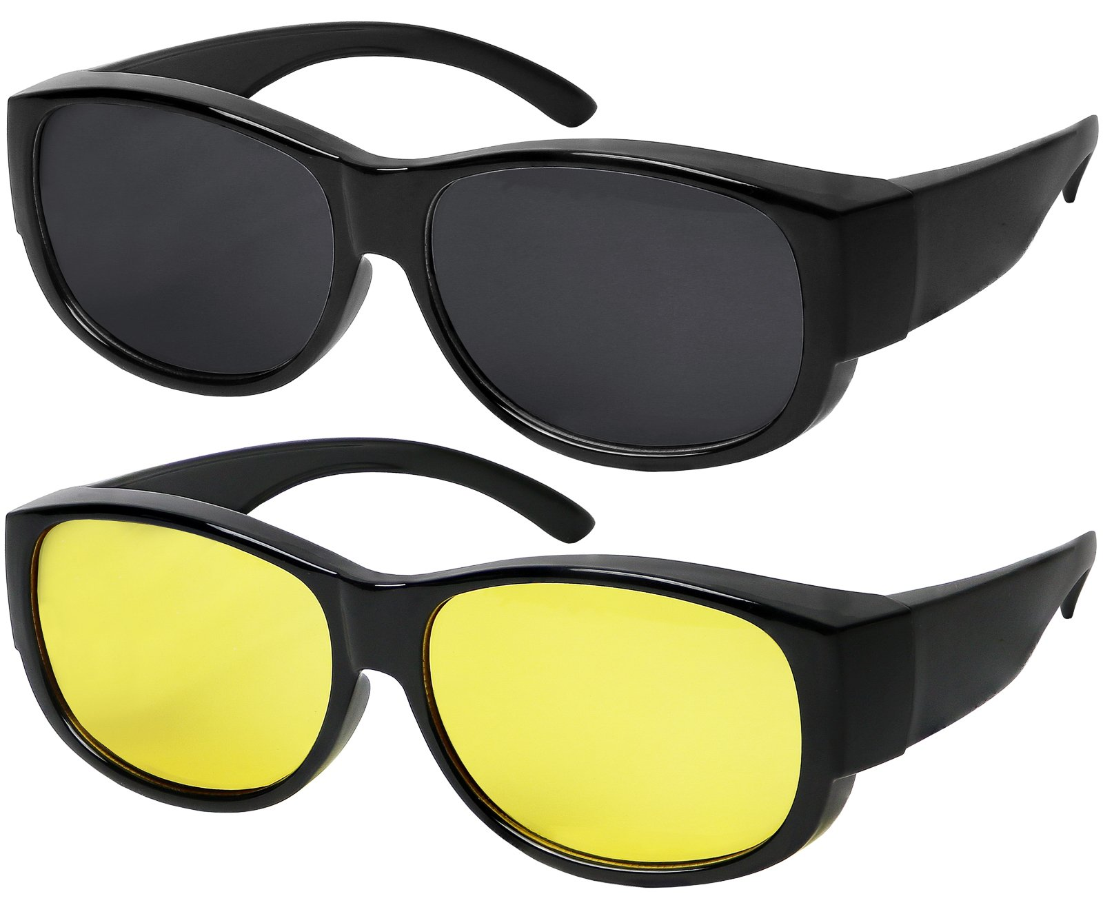 Fit Over Sunglasses With Polarized Lens 100% UV Protection Wear Over Prescription Eyeglasses Set of 2 Grey and Night Lens