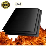 """BBQ Grill Mat, Set of 3 Reusable Nonstick Baking Mats, Barbecue Utensil for Gas, Charcoal, Electric Grill - 16"""" x 13"""""""