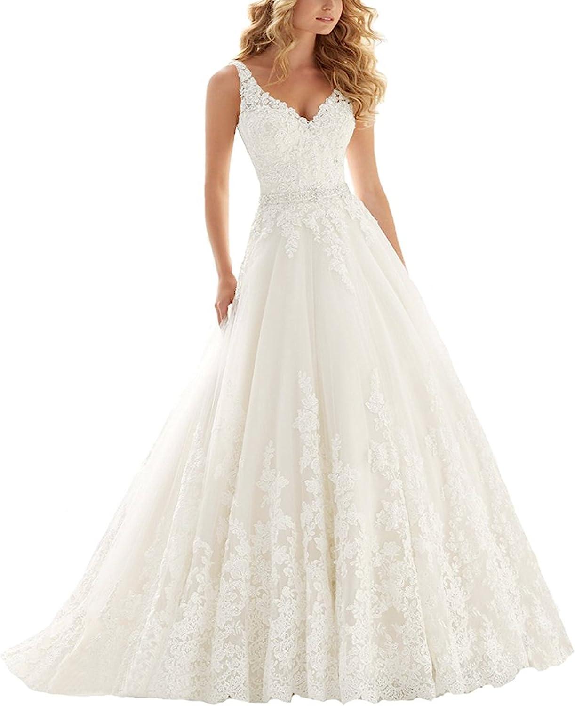 YASIOU Hochzeitskleid Standesamt Damen Lang Weiß Tüll Spitze