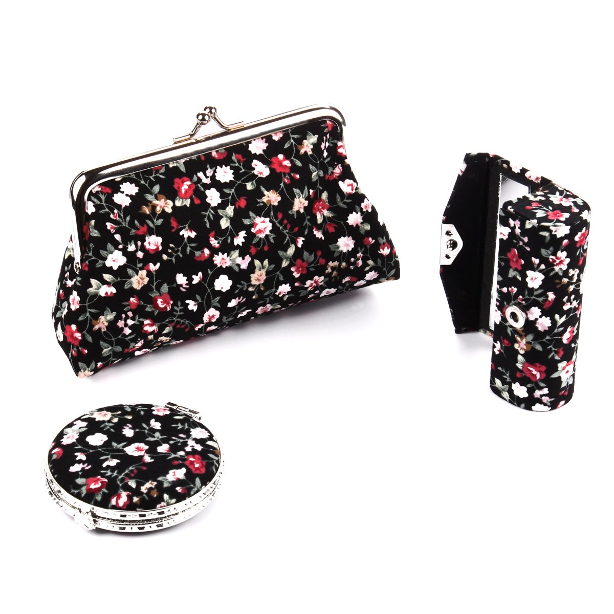 Ezeso 3 in 1 Floral Cosmetic Organizer Lipstick Mirror Butterfly Kiss-Lock Case Set,Women's Embroidery Coin Purse Holder Storage Gift Kit (Black)