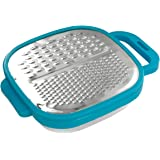 Brandobay Stainless Steel Multi-Grater with Snap-On Catch Tray - Cheese Grater, Lemon, Ginger, Garlic, Nutmeg, Chocolate, Vegetables, Fruits - Razor-Sharp Stainless Steel Blade + catch bowl