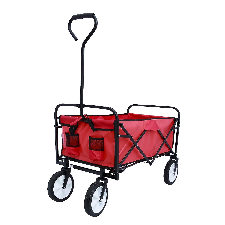 YSKWA Folding Wagon Garden Shopping Beach Cart Red