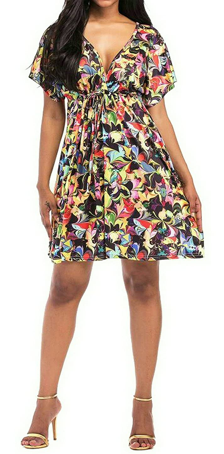 SUPERON Summer V-Neck Short Sleeve Floral Print Beach Swing Dress Fashion