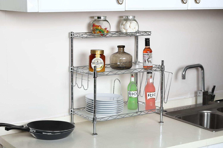 Amazon.com - Adjustable Steel 3 Shelf Kitchen Cabinet and Counter ...