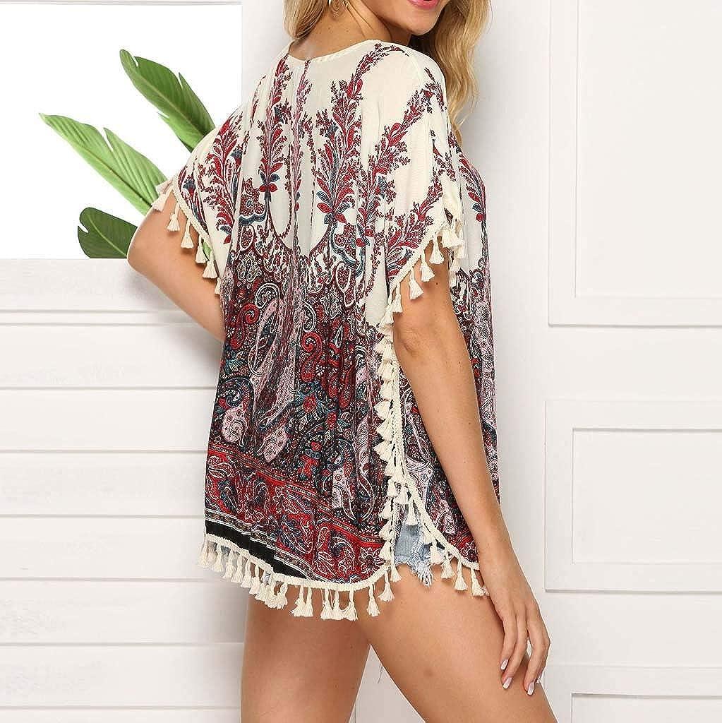 LIM/&Shop Casual T-Shirt Plus Size Bohemian Shirt Loose Tunic Crew Neck Hem Tassels Cotton Tee Women Summer Top