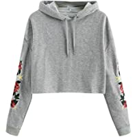 ZJSWCP Sweatshirt Womens Long Sleeve Drop Shoulder Cropped Hoodie Sweatshirt Pullover Tops Blouse Ropa Adolescent Mujer