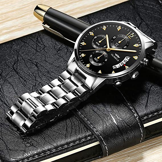 Amazon.com: OLMECA Mens Watches Luxury Waterproof Fashion Quartz Women Watches Chronograph Stainless Steel Band Wristwatches for Men 0832M-GKHMgd: Watches