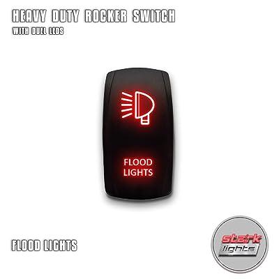 FLOOD LIGHTS - Red - STARK 5-PIN Laser Etched LED Rocker Switch Dual Light - 20A 12V ON/OFF: Automotive