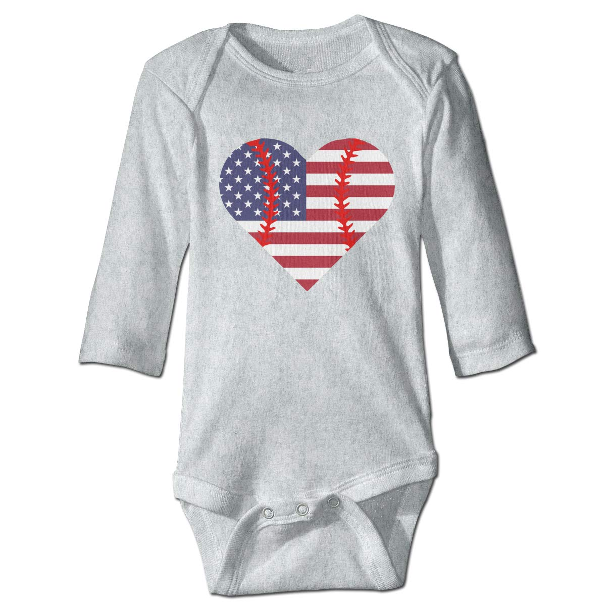 A14UBP Infant Babys Long Sleeve Jumpsuit Romper American Flag Baseball Heart Unisex Button Playsuit Outfit Clothes