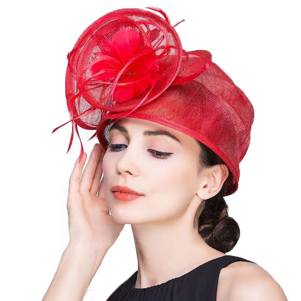 Sinamay Woman Fascinators for Wedding Dress Derby Fedora Hats Floral Church Hat