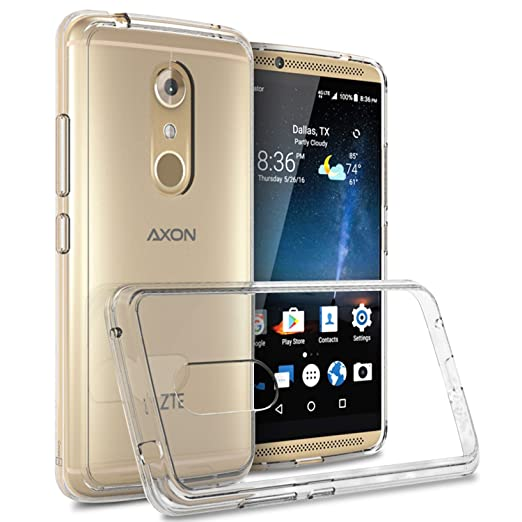 Zte Axon 7 Clear Case, Cover On [Clear Guard Series] Hard Clear Back Cover With Flexible Tpu Bumpers Slim Fit Phone Cover Case For Zte Axon 7   Clear by Cover On