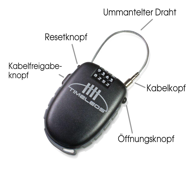 PREMIUM Kabelschloss, Zahlenschloss mit Seil ideal für Kinderwagen ...