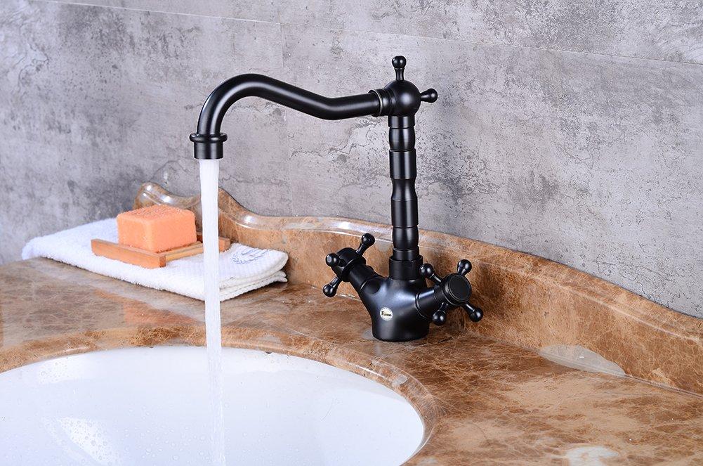 Fuloon Classique R/étro Mitigeur Robinet de Lavabo Evier Double Levier Bec Buse Pivotante en Laiton pour Toilettes Salle de bain Cuisine