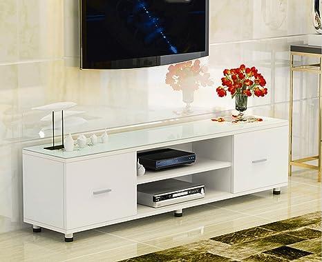 SDMH Sala de estar simple Mueble de TV Dormitorio pequeño apartamento Vidrio templado Combinación creativa de mesa doble Cajón doble: Amazon.es: Electrónica