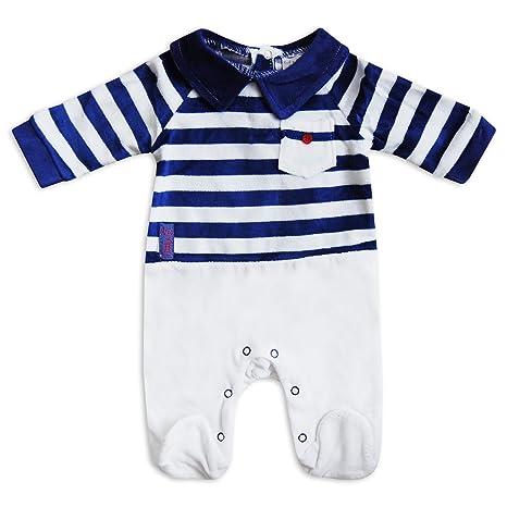 Bebé Niños Boutique estilo pijama recién nacido terciopelo Super suave Pelele Babygrow blanco azul rayas blanco