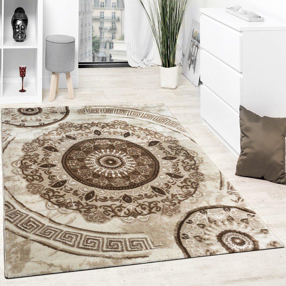 Paco Home Designer Teppich Mit Glitzergarn Klassisch Ornamente Gemustert Beige Braun, Grösse 240x340 cm