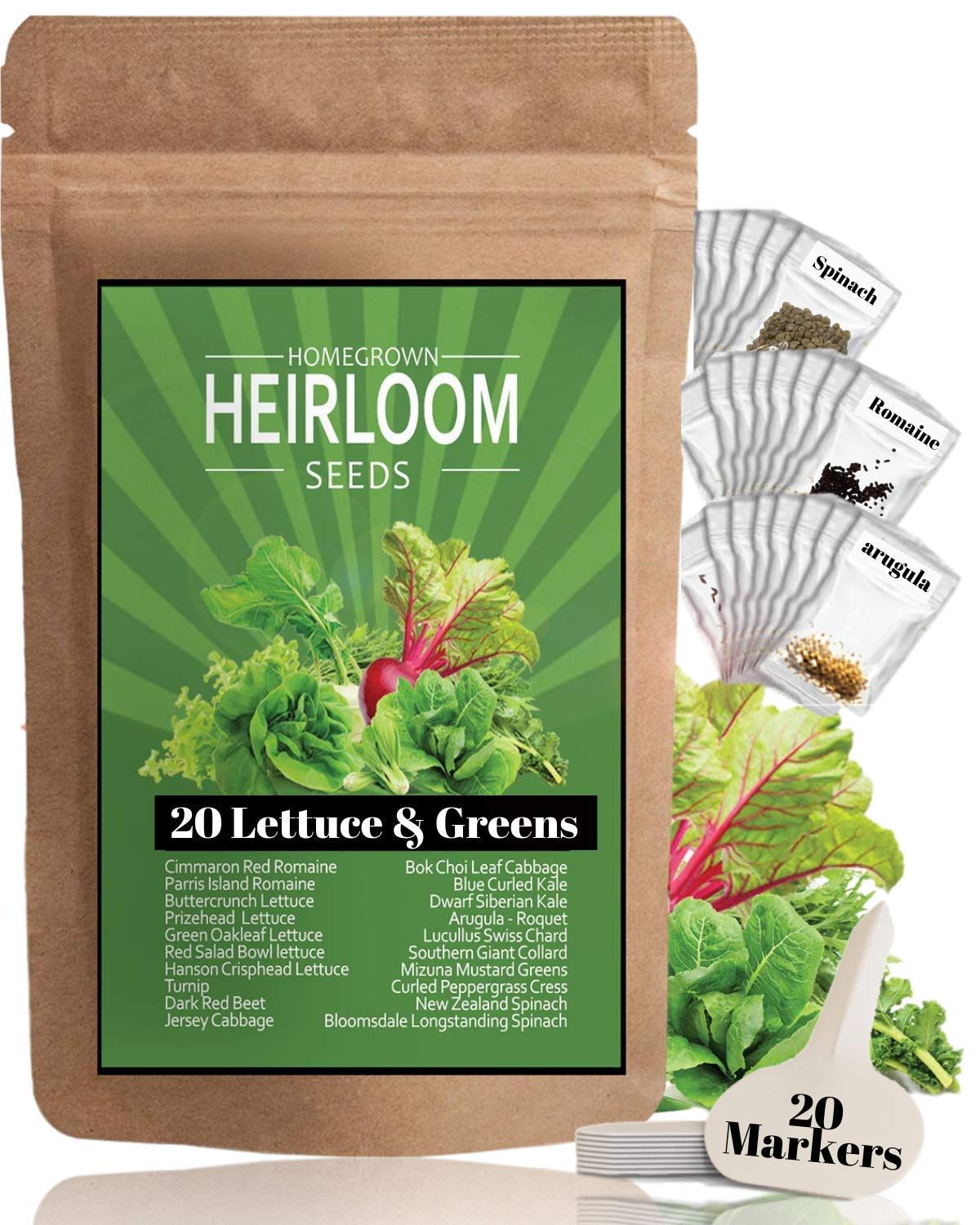 Lettuce and Leafy Greens Heirloom Seeds [20 Varieties - 3000] Kale, Spinach, Butter, Oak, Romaine, Iceberg, Bibb, Arugula | Hydroponic Vegetable Garden | Non Gmo Microgreen Seeds For Planting