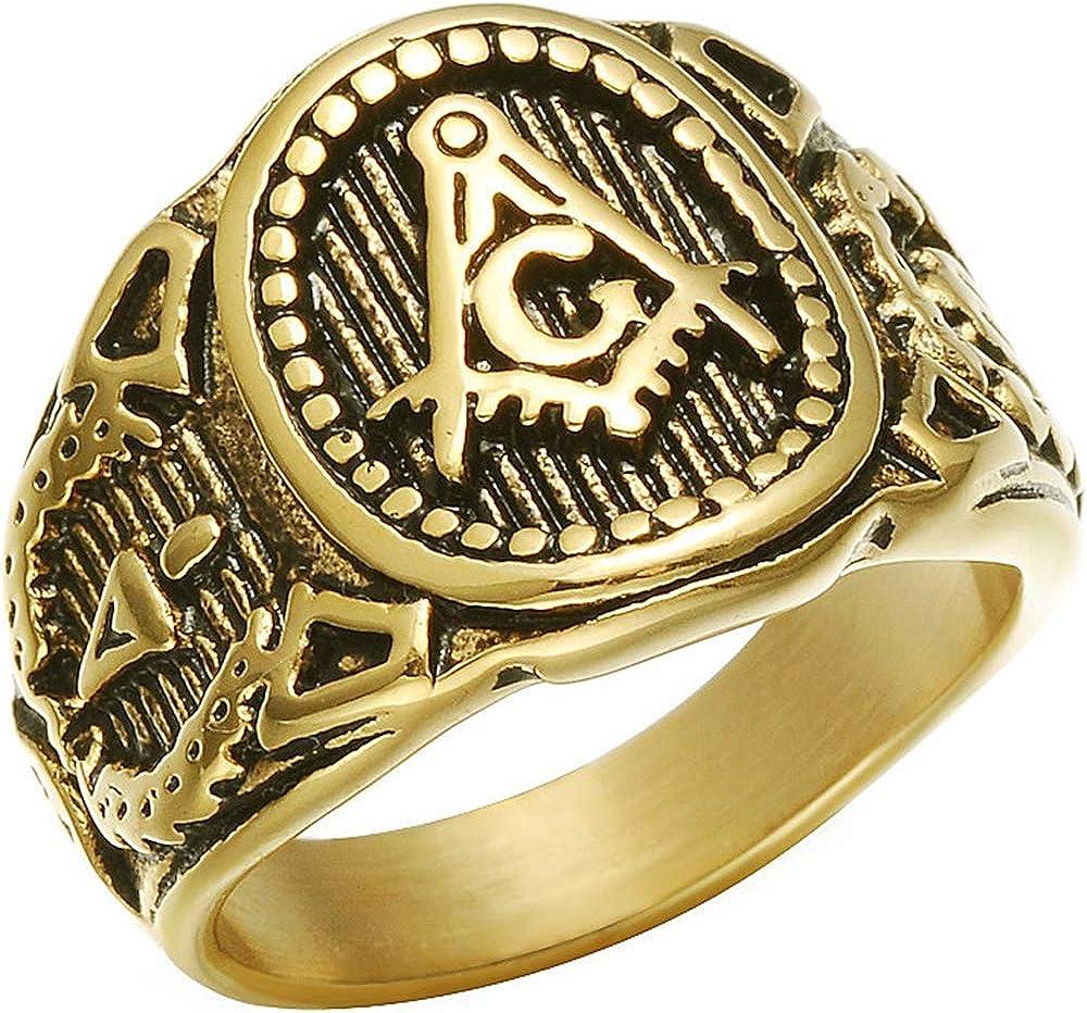 Jude Jewelers Retro Vintage Stainless Steel Masonic Master Freemason Biker Ring
