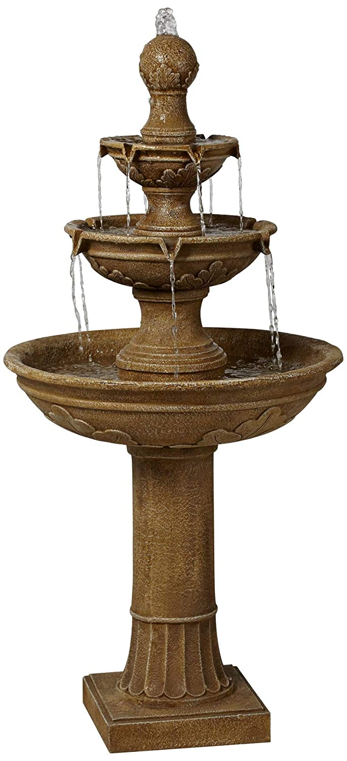 "John Timberland Stafford Classic Outdoor Water Fountain Three Tier Floor Cascading 48"" for Yard Garden Lawn"