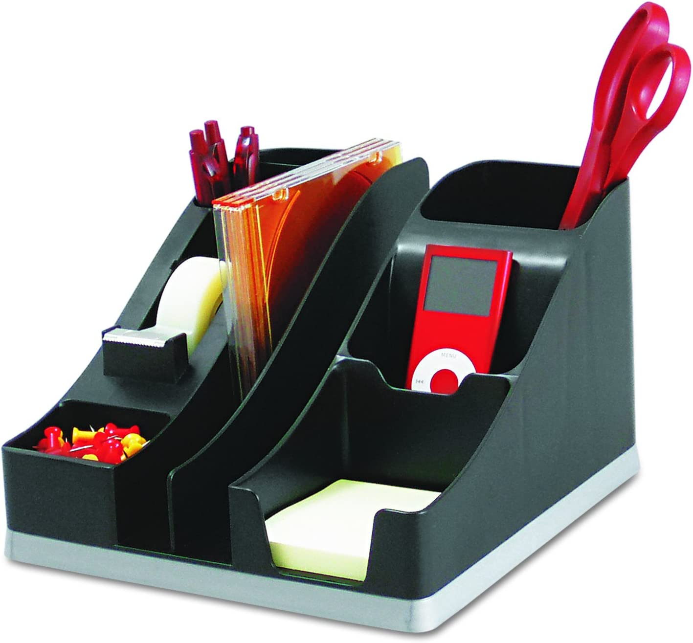 "Deflecto Silhouettes All-In-One Desk Caddy, Office Supplies Caddy, Black With Silver Base, 8-1/8""W x 5-3/16""H x 9-1/8""D (35172)"