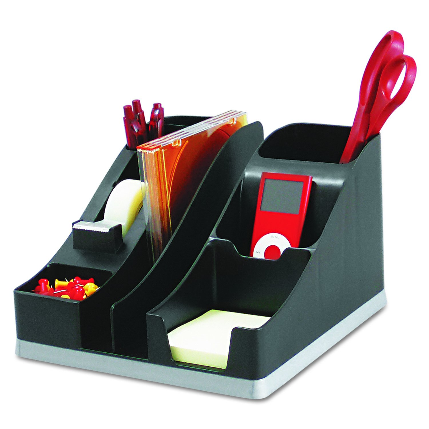 Deflecto Silhouettes All-In-One Desk Caddy, Office Supplies Caddy, Black With Silver Base, 8-1/8''W x 5-3/16''H x 9-1/8''D (35172)