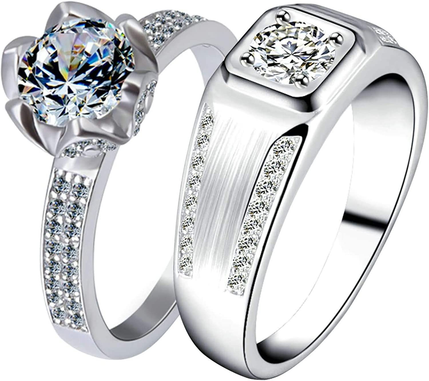 Gnzoe 1 Pair His & Hers Couples Wedding Rings Set for Men Women 925 Sterling Silver Flower White Cubic Zirconia Ring
