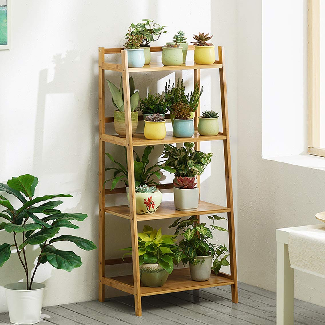 LRW Bamboo Flower Rack, Floor, Indoor Living Room, Fleshy Flower Frills, Multi Storey Balcony, Green Rose Flower Rack, White, 4 Stories Long 50 Centimeters.