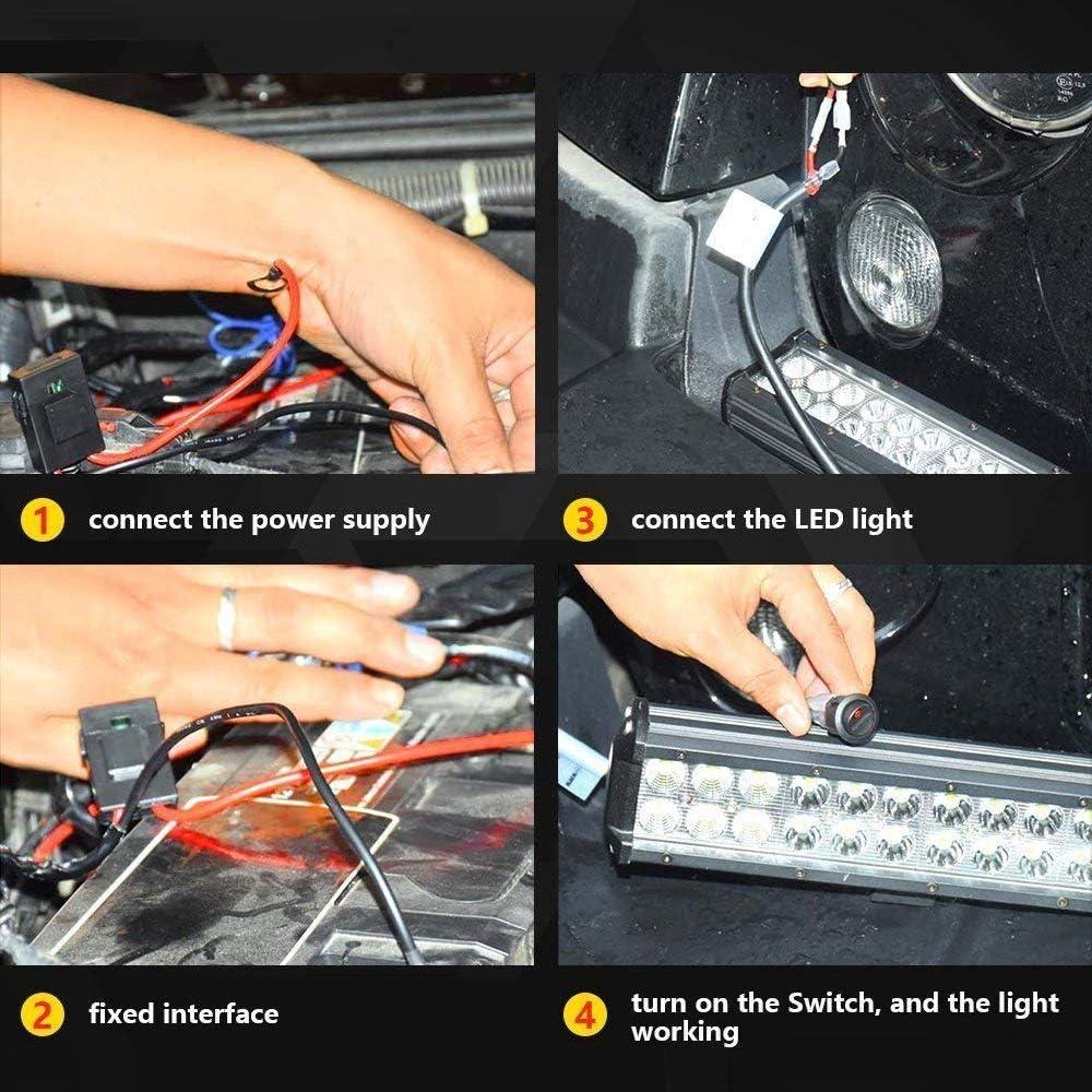 Cableado del Barra Arn/és del Interruptor de Luz Faro de Trabajo Arn/és 12V 40A Interruptor de Apagado Encendido de Faro Antiniebla YEEGO Arn/és de Cableado