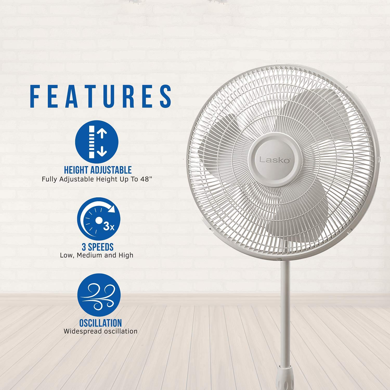 Lasko 2520 16/″ Oscillating Stand Fan Tilt-Back Fan Head Features Adjustable Height Oscillating Movement